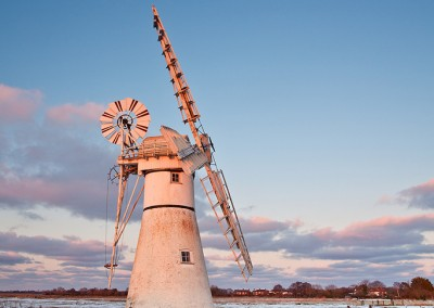 Wintry conditions at Thurne Mill on the Norfolk Broads