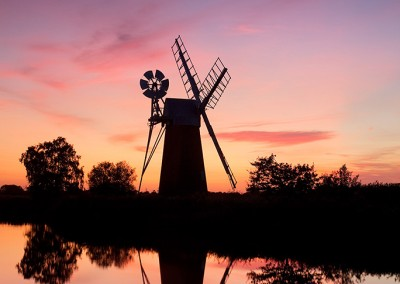 Turf Fen mill at sunset on the River Ant, Norfolk Broads