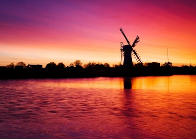 Thurne windmill at dawn on the Norfolk Broads