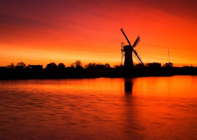 One of the best sunrises I have ever seen shortly before a storm at Thurne Mill on the Norfolk Broads. For ten mins the sky put on a performance of bright colours from pinks to fiery reds.