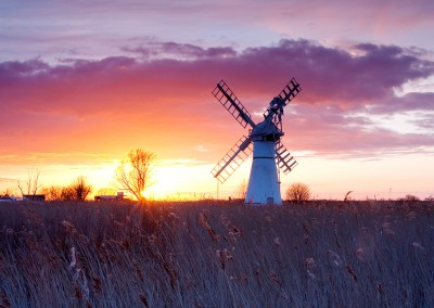 Thurne Mill at sunset on the Norfolk Broads