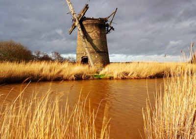 The remains of Brograve Mill on the Norfolk Broads