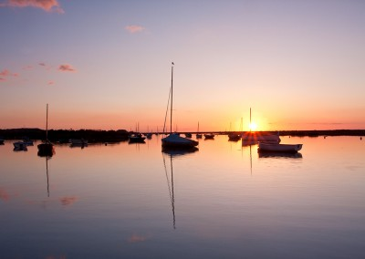 Burnham Overy Staithe at sunset on the North Norfolk Coast