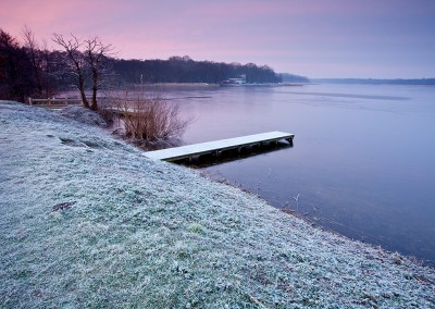 A frozen Rollesby Broad At Dawn on the Norfolk Broads