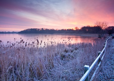 A frozen Ormesby Broard At Dawn on the Norfolk Broads