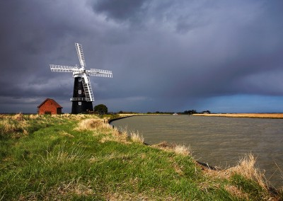 Berney Arms windmill, photographed during a storm on the Norfolk Broads National Park