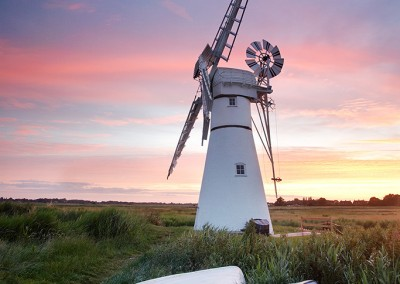 Thurne windmill at sunrise on the Norfolk Broads