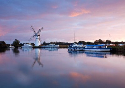 Thurne Mill at fist light on the Norfolk Broads