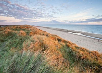 Horsey beach and dunes at first light on the Norfolk Coast