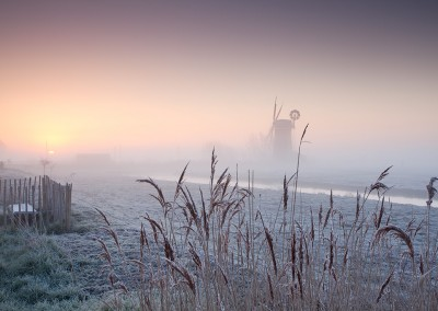 Horsey Drainage Mill at sunrise on a winters morning