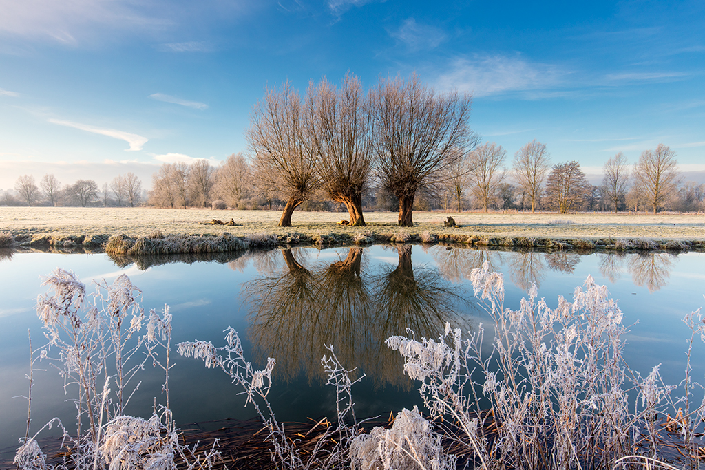 River Stour at Essex and Suffolk on a frosty morning